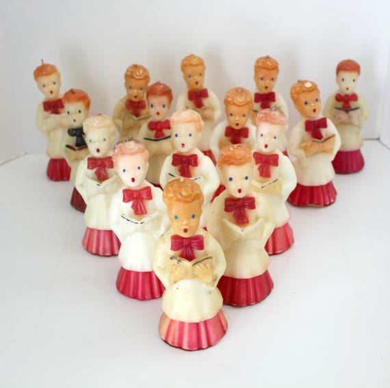 "15 Choir Boy Gurley Candles, Large 7"" Tall, Vintage Christmas White and Red Caroler"