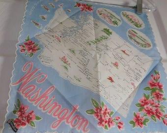 Vintage Washington State Souvenir Handkerchief - Franshaw