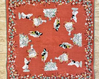 Vintage Pat Prichard Renaissance style Hanky, Midcentury Handkerchief, 1950s Hanky