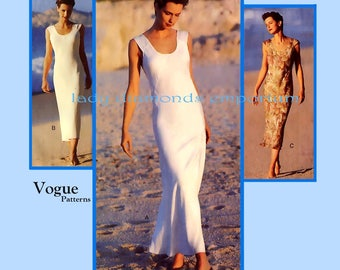 Vogue 1588 Calvin Klein Bias Pullover Tank Dress Womens size 12 14 16 Bust 34 36 38 Vintage Sewing Pattern Uncut FF