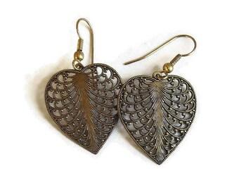 Copper Openwork Dangle Heart Earrings Vintage Boho