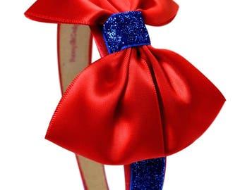 Snow White Inspired Sparkling Glitter Satin Bow Arch Headband    HALLOWEEN COSTUME HEADBAND