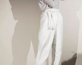 vintage 80s high rise wide straight leg leather trousers pants UK8 EUR36
