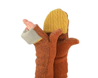 RESERVED Convertible Flip Top Mittens in Burnt Orange and Mustard Orange - Recycled Wool - Fleece Lined