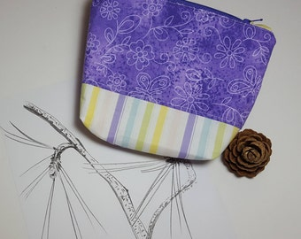 Lavender Zipper Pouch, gusset bottom sturdy carry-all, Organizer pouch, travel pouch, cosmetics, phone, zippered bag