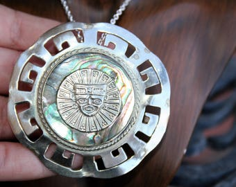 SALE...Large 925 Sterling Silver Native American Navajo  Abalone Pendant Necklace  - STUNNING