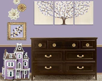Nursery Wall Art Girl - Lavender Tree Painting on Large Triptych Canvas - 50x20