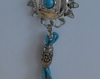 """Turquoise Bollo style Necklace, Silver tone, Vintage, Adjustable up to 40"""", Southwest (Z1)"""