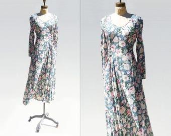90s Floral Dress Floral Midi Dress 90s Grunge Dress Blue Pink Floral Vintage Floral Dress Long Sleeve Dress Cornflower Blue Medium m