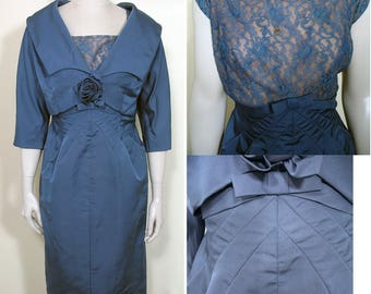 Vintage 1950s Blue Silk and Lace Cocktail Dress and Jacket SZ M/L
