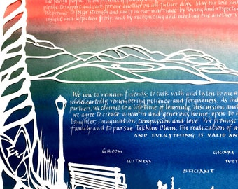 Upper West Side and Broadway Overlook with Walter Papercut Ketubah - hand lettering - papercut wedding artwork