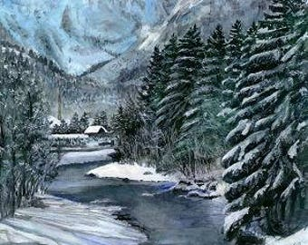 Snowy Mountain Scene, from the original painting By Artist, Roseann Madia