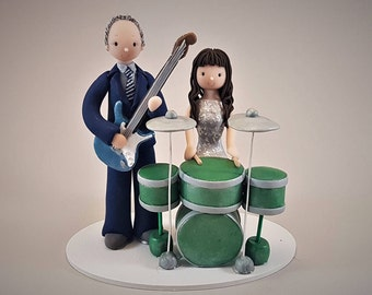 Drummer & Guitarist Personalized Music Theme Wedding Cake Topper