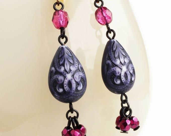 Beaded Purple Carved Drop Earrings Ornate Purple Beaded Dangle Earrings Victorian Purple Jewelry