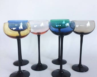 6 Vintage Black Stem Multi Colored Aperitif Glasses - Retro Colored Barware - Pink, Blue, Green, Amber, Gray/Blue, Smoke on Black Stems