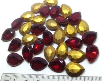 10 Siam Red Teardrop Pear Rhinestone Glass Jewel, Cabochon, Glass Cab, Faceted Rhinestone, Red jewel, burgundy faceted rhinestone