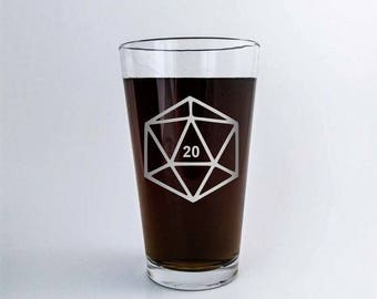 D20 | Polyhedral Dice | Etched Pint Glass | DM Gift | Dungeon Master | Custom Beer Glass | RPG | Dungeons and Dragons