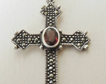 Sterling Garnet Cross and Sterling Chain