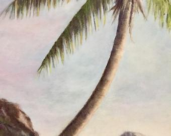Original landscape painting,  paradise island,  palm tree, wall art, tropical art,