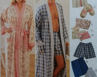 Easy Mccalls 9137 Unisex Misses Mens Robe,Boxer Shorts Pattern Misses Robe, Wrap, and slippers Pattern Mens and Misses Sizes XL XXL