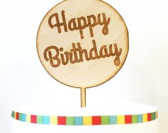 Happy Birthday Cake Topper, Birthday Cake Topper, Lollipop Happy Birthday Cake Topper, wood cake topper,