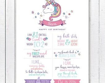 Unicorn Birthday Stats Birthday Printable, Birthday Stats Poster PDF File 18x24 Inches, First Birthday Milestone poster DIGITAL FILE