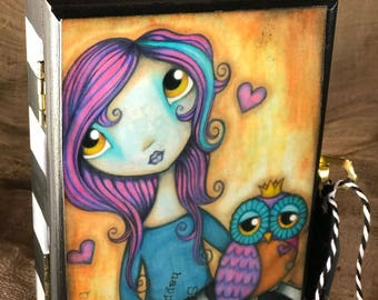 The Royal Owl - Hand painted keepsake wooden box