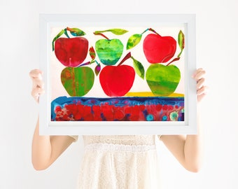 Nursery Art Print Apples, Gender Neutral Nursery, Printable Wall Art, Girls Nursery Art, Boys Nursery Art