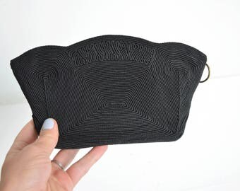 Vintage Black Corded Clutch // fabric 40s 50s corde cord handbag evening bag 1940s purse // midcentury