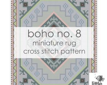 "Digital Download ""Boho No. 8 Dollhouse Floor Rug"" - modern miniature for dollhouse / pdf cross stitch embroidery pattern"