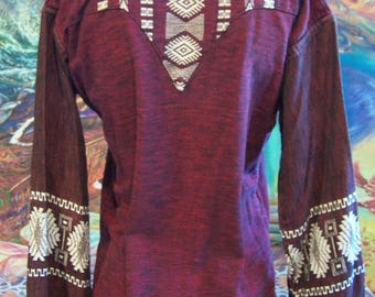 Mexican, Embroidered, Shirt, Long sleeve, Guatemala, Brick, Unisex, S / M