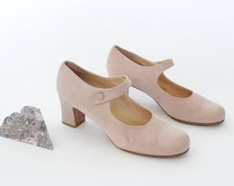 1990s Rose Quartz Mary Janes   Vintage 90s Pale Pink Kenneth Cole Block Heel Mary Jane   90s Clueless Heels   US 10