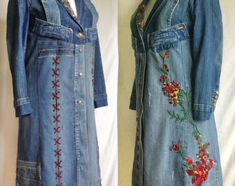 Military style embroidery Patchwork denim midi floral jacket