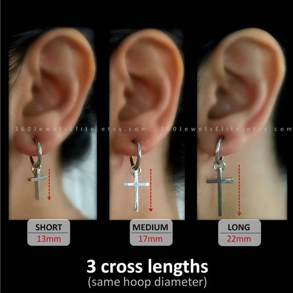 cross clip on earring mens earrings cross earrings clip