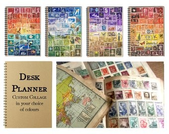 A5 Travel or Student Planner - Custom Stamp Art Collage Cover