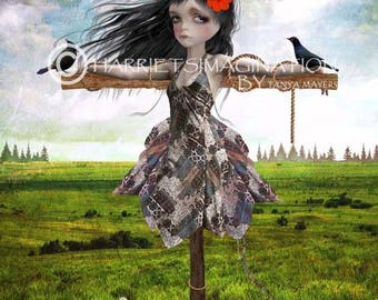 Lowbrow Art Print - Wall Decor - Scarecrow & Blackbirds - Meadow