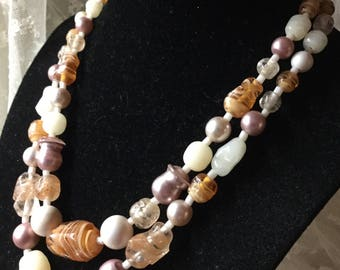 Chic Yet Boho Styled Art Glass Double Strand Bead Necklace Unsigned 1960's 1970's Brown White Beige Amber Hued Odd Molded Shape Feminine