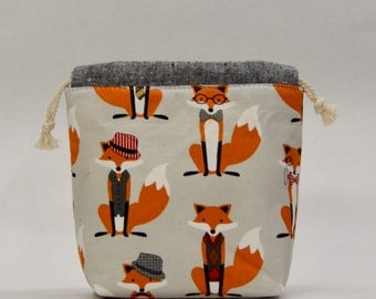 Dapper Foxes Small Drawstring Knitting Project Craft Bag - READY TO SHIP