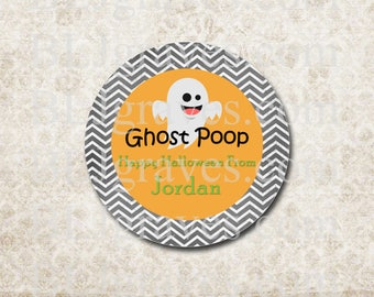 Personalized Halloween Stickers Ghost Poop Stickers Party Favor Treat Bag Stickers SH022