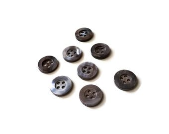 Mother of Pearl Shell Buttons 11mm - set of 8 eco friendly grey buttons  (BN656B)