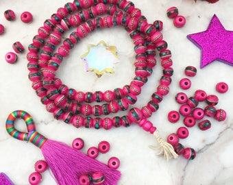 Hot Pink, 8mm Inlaid Yak Bone Beads, 10 beads, Coral Turquoise & Wire / Bohemian, Nepal - Tibet Supplies, Prayer Beads, Malas, Supplies