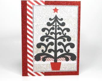 Christmas tree greeting card, modern Christmas card, Holiday cards, Christmas card for her, handmade Christmas cards