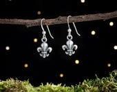 Sterling Silver Fleur de Lis Earrings - Small, Double Sided [CLEARANCE]