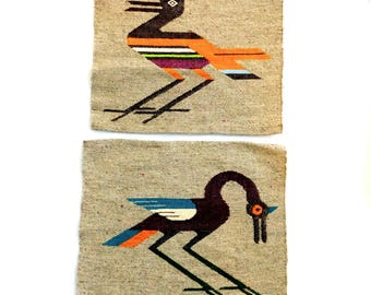 Lot of 2 Vintage Peruvian Woven Wool Tapestries w/ Exotic Birds - Rustic Folk Art Weaving - Southwestern Style - Pillow Tops - Ethnic Design
