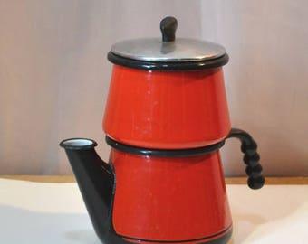 Kook King Volrath Coffee Pot Red Enamel Coffee Pot