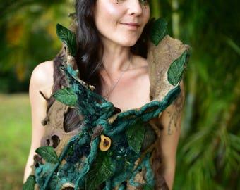 Felt Tree vest-Tree Costume-Woodland Top-Leaf Tree Roots Vest-Festival Wear-Fantasy Costume-Felt Leaf Top-Wearable Tree Art-Burning Man OOAK