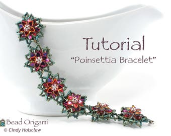 TUTORIAL - Poinsettia Bracelet with Dragon Scale beads - PDF Pattern Only