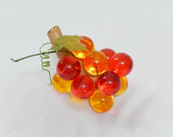 lucite grape cluster, orange yellow, vintage home decor, mid century, table ware, kitchen, dining and entertaining