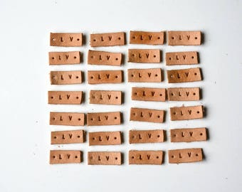 1/2'' Natural Leather Labels, 1-6 letters, Leather Labels, 4 OZ Leather Tags, custom stamped leather tags, embossed labels