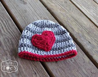 Crochet Valentines Day Hat, Baby Boy Hat, Newborn Valentines Day, Crochet Red Heart Hat, Gray Striped Baby Hat